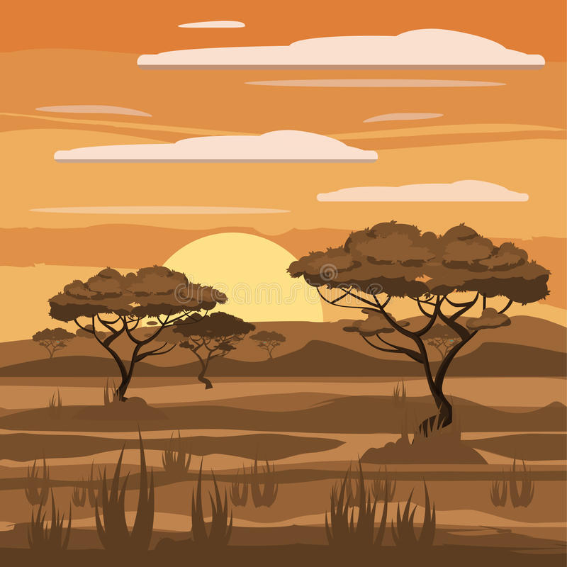 African landscape, savannah, nature, trees, wilderness vector illustration