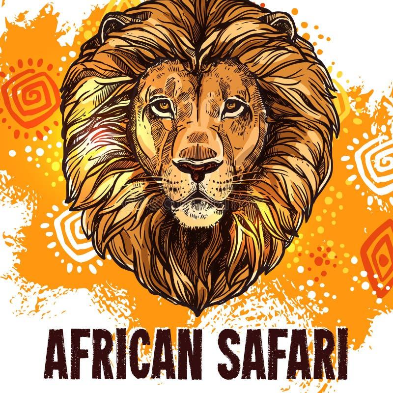 African lion poster safari hunting vector poster vector illustration