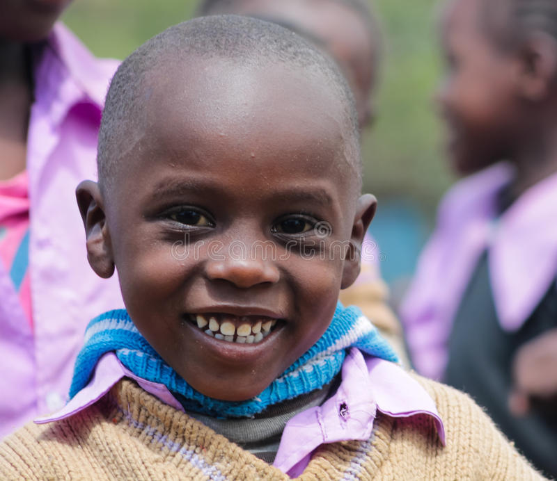 African little boy at school royalty free stock photo
