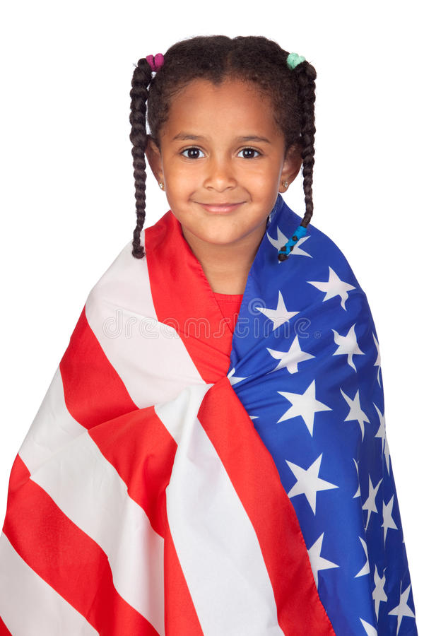 African little girl with a American flag. Isolated on a over white stock images