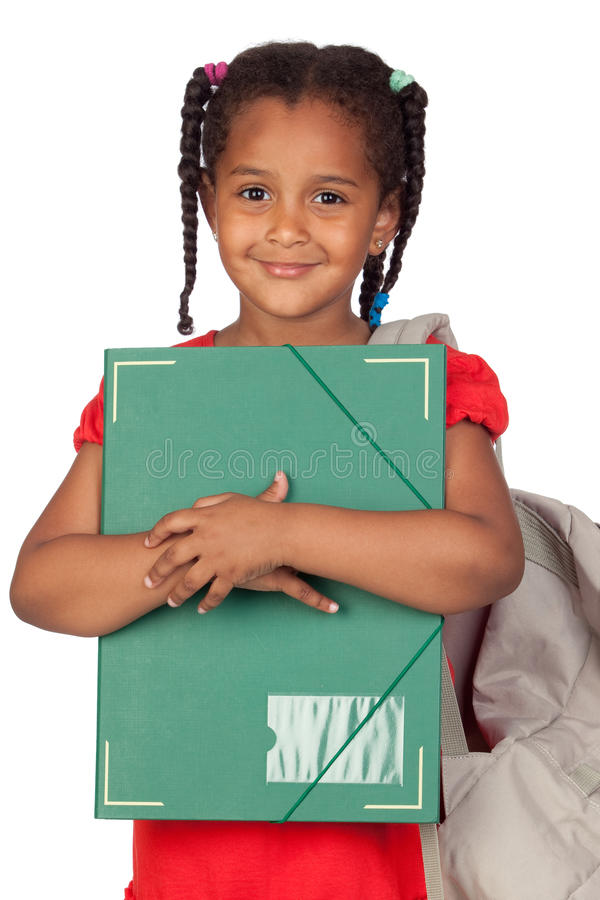African Little Girl With A Folder And Backpack Stock Photography