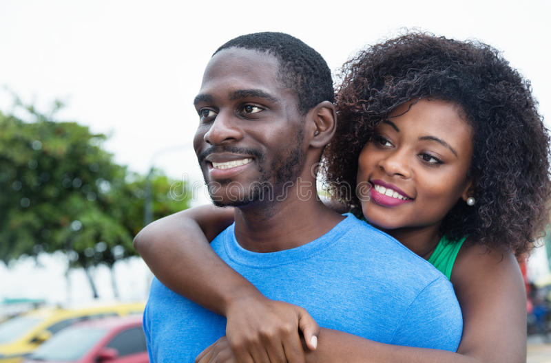 African love couple in dreams. Outdoor in the city royalty free stock photos