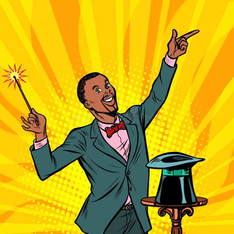 African magician, amazing performance. Circus performer. Trick stock illustration