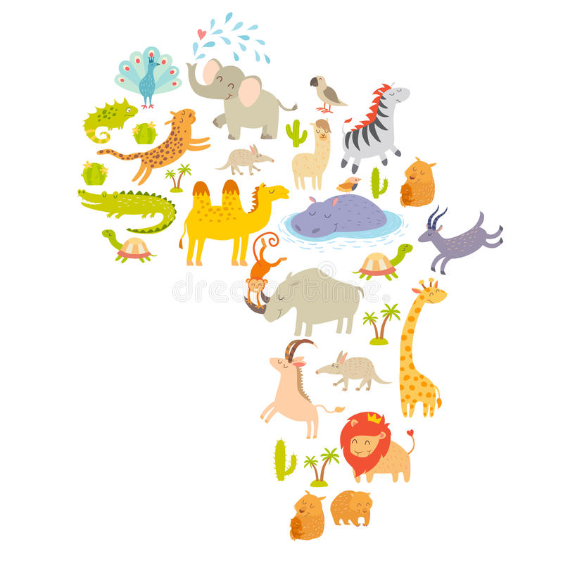 African mammal map silhouettes. on white background vector illustration. Colorful cartoon illustration for children, kids. And other people. Preschool royalty free illustration