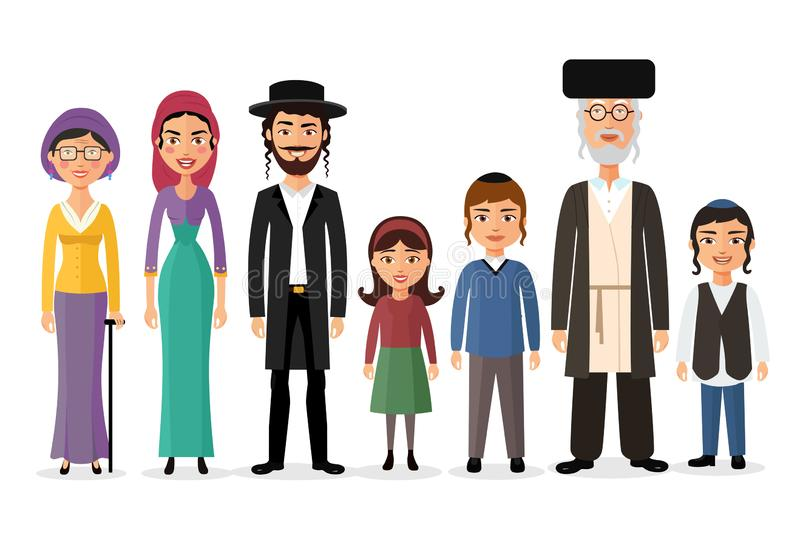 Happy big jewish family together cartoon concept vector illustration isolated on white. Eps 10 stock illustration