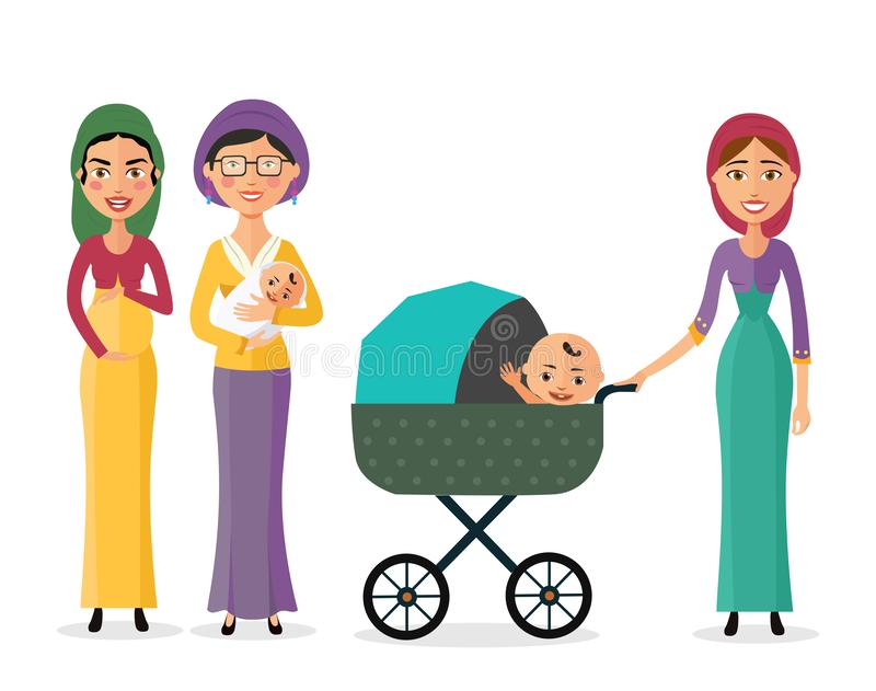 Happy jewish woman with a newborn baby mother with children flat cartoon vector illustration eps10 stock illustration