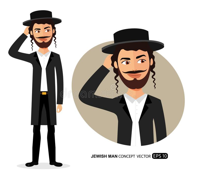 Jewish man is pensive thinking get an idea concept cartoon vector isolated. 10 vector illustration