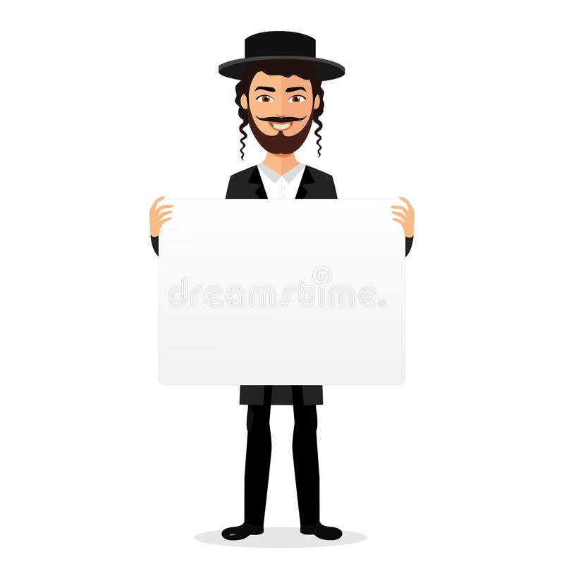 Jewish man holding banner isolated on white background vector. Eps 10 vector illustration