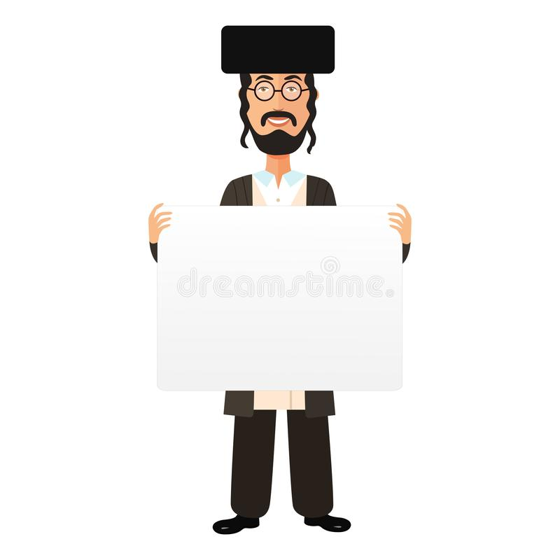 Jewish cartoon flat smile man holding banner isolated on white background vector. Eps 10 vector illustration