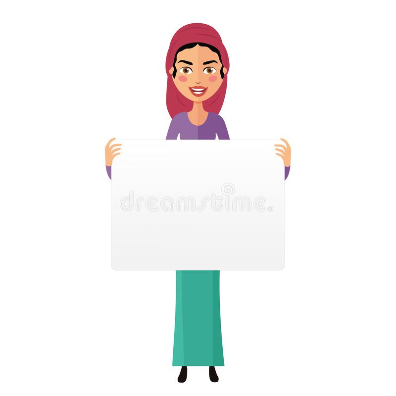 Jewish business cartoon man holding banner isolated on white background vector. Eps 10 stock illustration