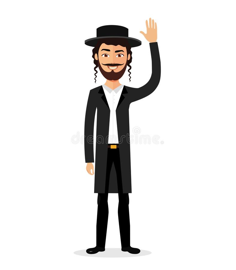 Jewish man waving hand goodbye flat vector cartoon isolated on white. Eps 10 royalty free illustration