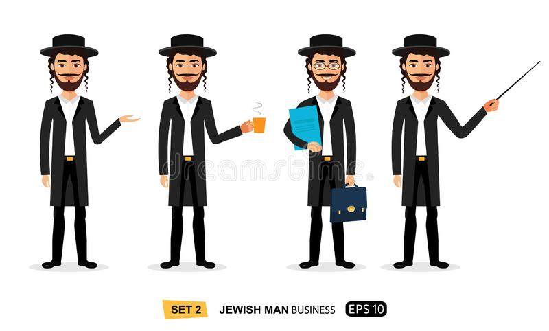 Jewish business men set enjoying cup coffee flat cartoon vector isolated. Eps 10 vector illustration