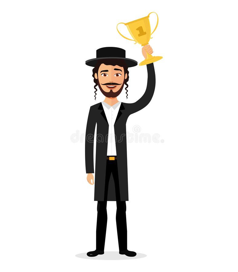 Excited smiling jewish man raising up trophy medal certificate businessman winner success concept. Character vector isolated on white background eps 10 royalty free illustration