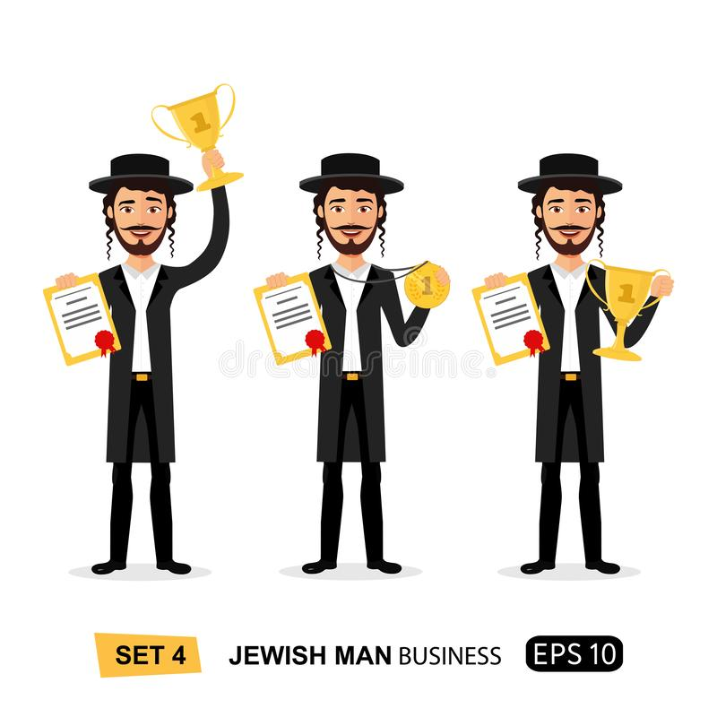 Jewish business man winner success excited smiling male raising trophy prize, medal and certificate concept cartoon. Isolated on white background eps 10 royalty free illustration
