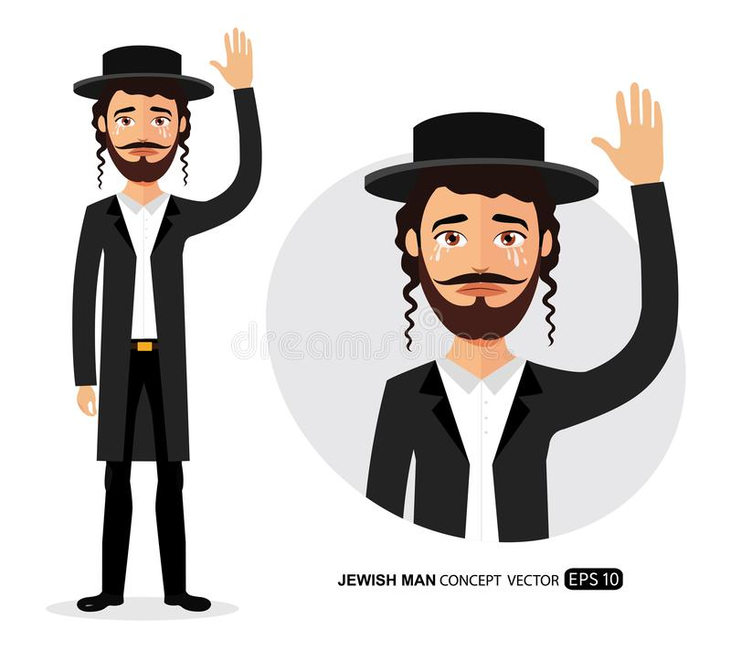 Crying Jewish business man waving hand goodbye cartoon vector isolated on white. Eps 10 vector illustration