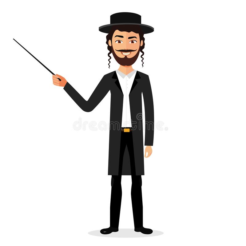 Jewish man presenting something cartoon flat vector isolated. 10 stock illustration