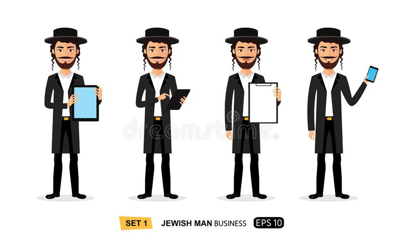 Jewish business cartoon man standing with tablet concept flat vector isolated on white. Eps 10 stock illustration