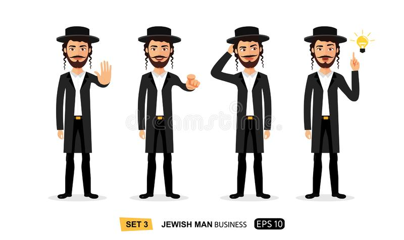 Jewish business man showing stop gesture with hand motivation vector flat cartoon illustration. Eps 10 vector illustration