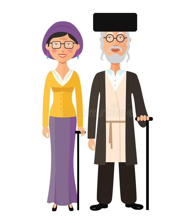 Jewish old people standing together grandmother and grandfather. vector illustration