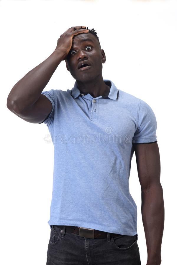 African man with expression of forgetfulness or surprise on white background stock images