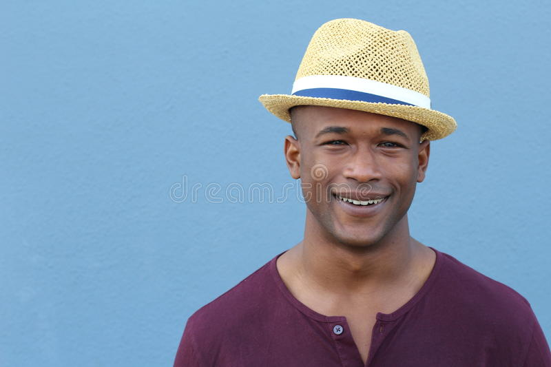 African Man with Fedora hat and copy space royalty free stock image
