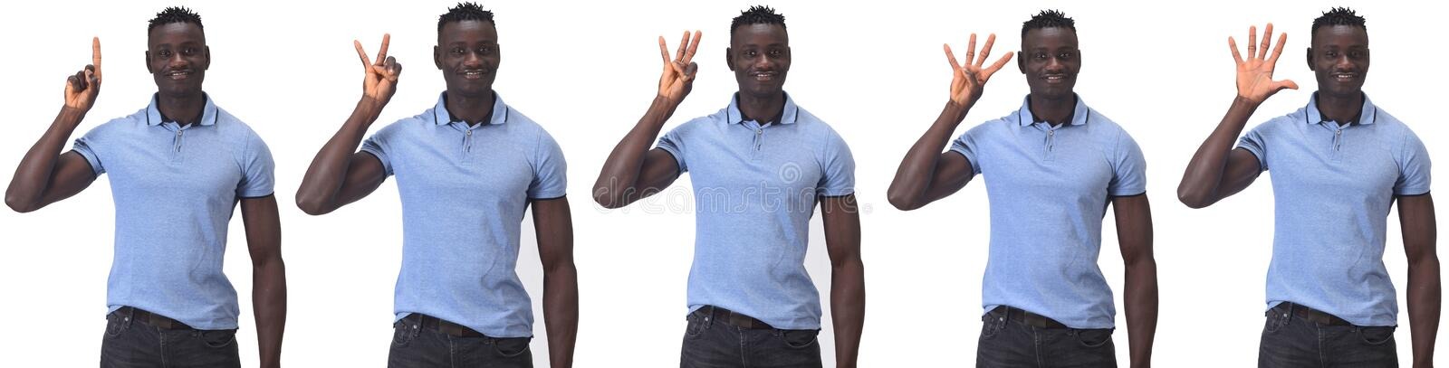 African man with finger doing the countdown royalty free stock images