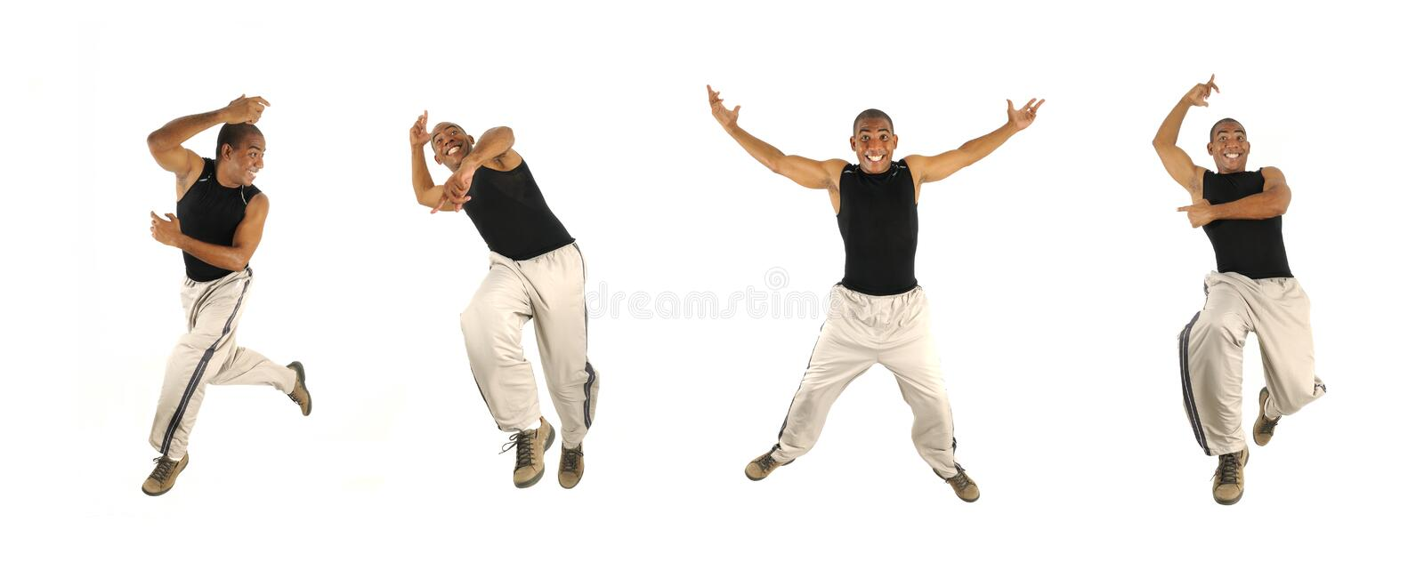 Download African Man Jumping In 4 Poses Stock Image - Image: 12285441