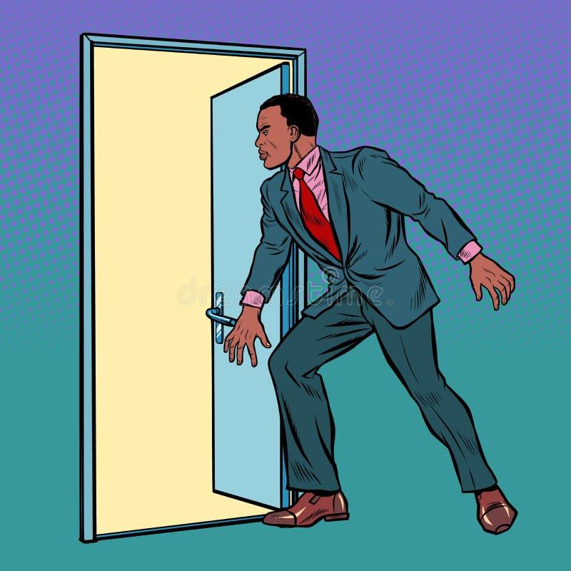 African man opens the door vector illustration
