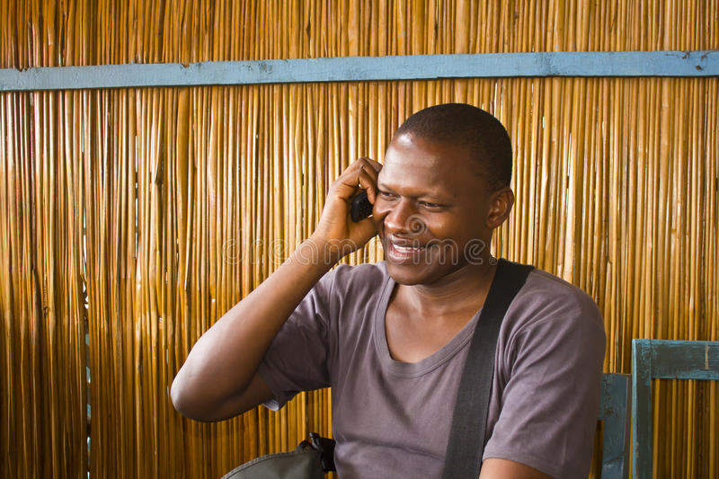 African man on phone stock photography