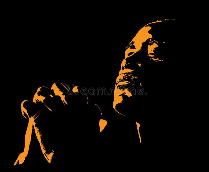 African Man is praying. Silhouette in backlight. Illustration. African Man is praying. Silhouette in backlight. Vector. Illustration royalty free illustration