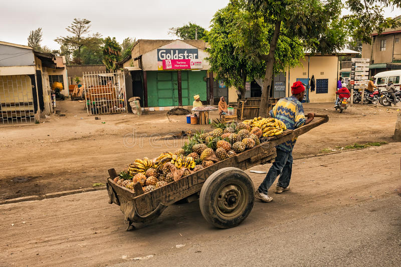 African man pulling a cart full of fruit. ARUSHA, TANZANIA - OCTOBER 21, 2014 : African man pulling a cart full of fruit in a shopping street of Arusha stock photo
