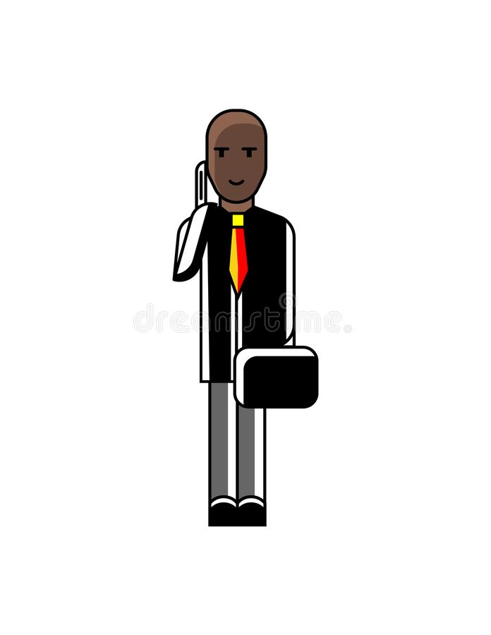 African man with suitcase talking on phone. African businessman with suitcase talking on phone. Corporate business people isolated vector illustration in linear vector illustration