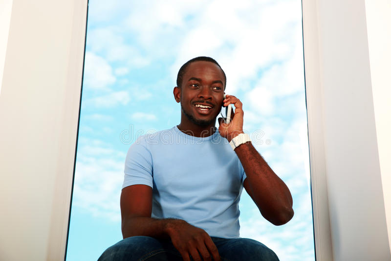 African man talking on the phone royalty free stock images