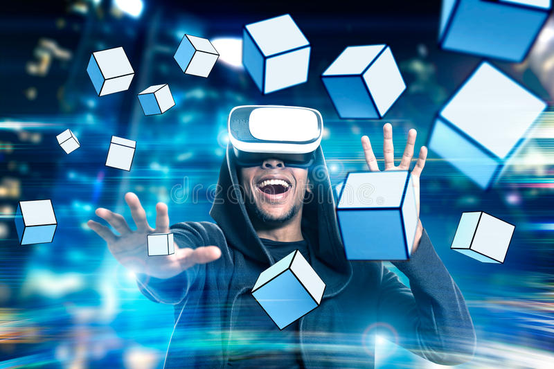 Download African Man In Vr Glasses With Cubes Stock Photo - Image: 83722472