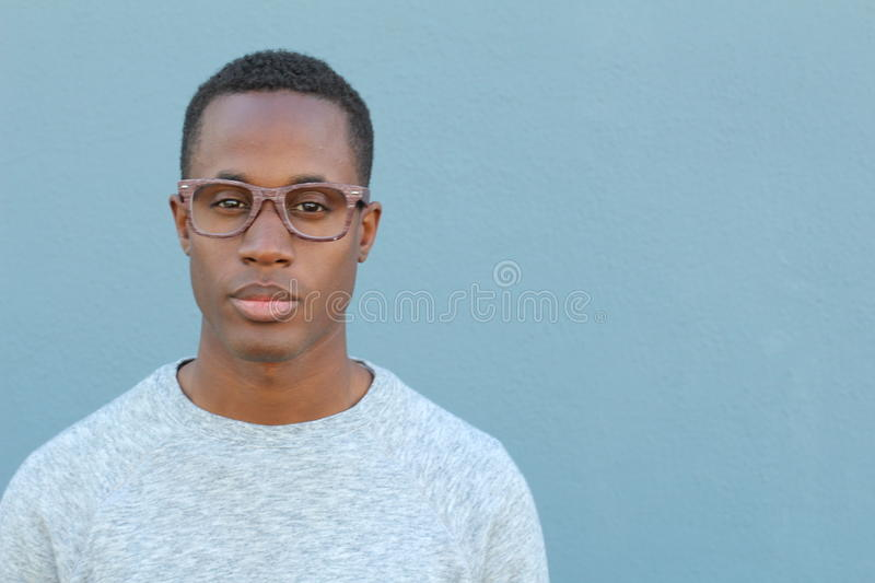 African man wearing glasses portrait stock photo