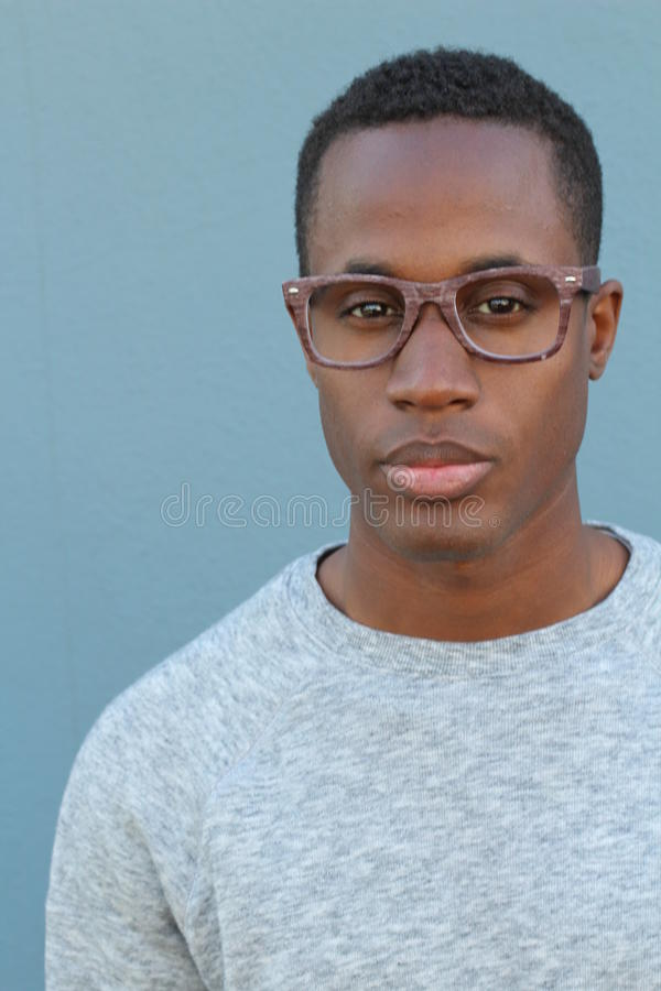 African man wearing glasses portrait royalty free stock images