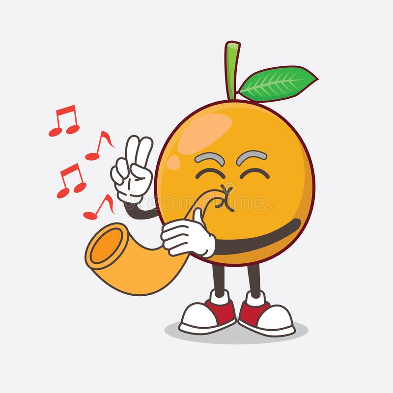African Mangosteen Cartoon Mascot Character Playing Music With