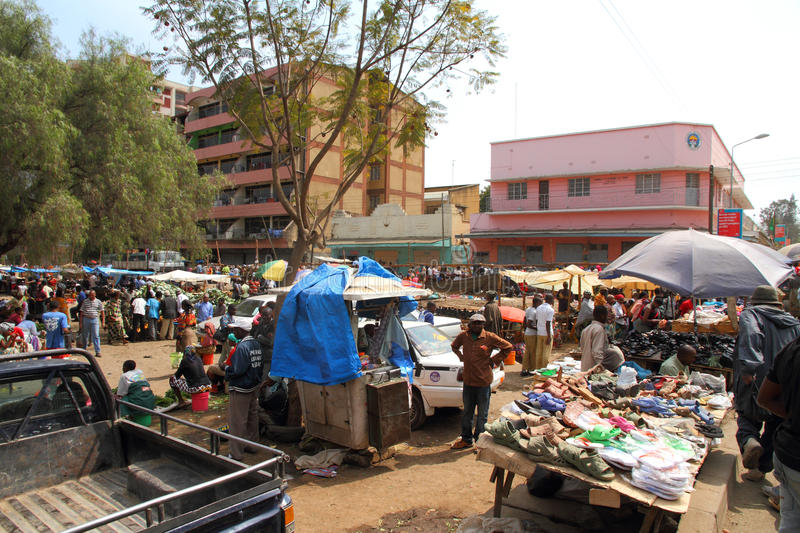 African Market - Arusha, Tanzania. One of many markets in Arusha, Tanzania royalty free stock images