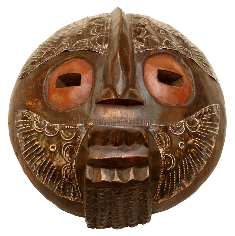 The African mask. The African wooden mask on a white background royalty free stock images