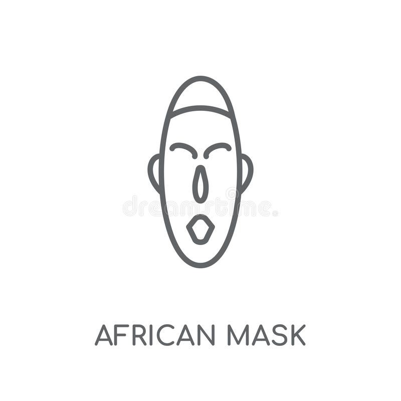 African mask linear icon. Modern outline African mask logo conce vector illustration