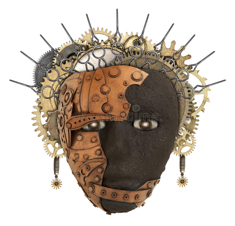 African mask. Metal collage. African mask. Metal cAfrican mask. Metal collage. Photo elements combined royalty free stock photo