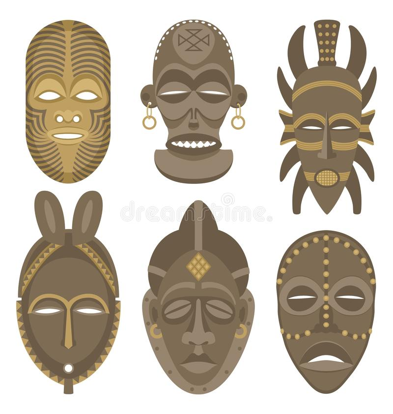 AFRICAN MASKS. Six African masks. No transparency and gradients used