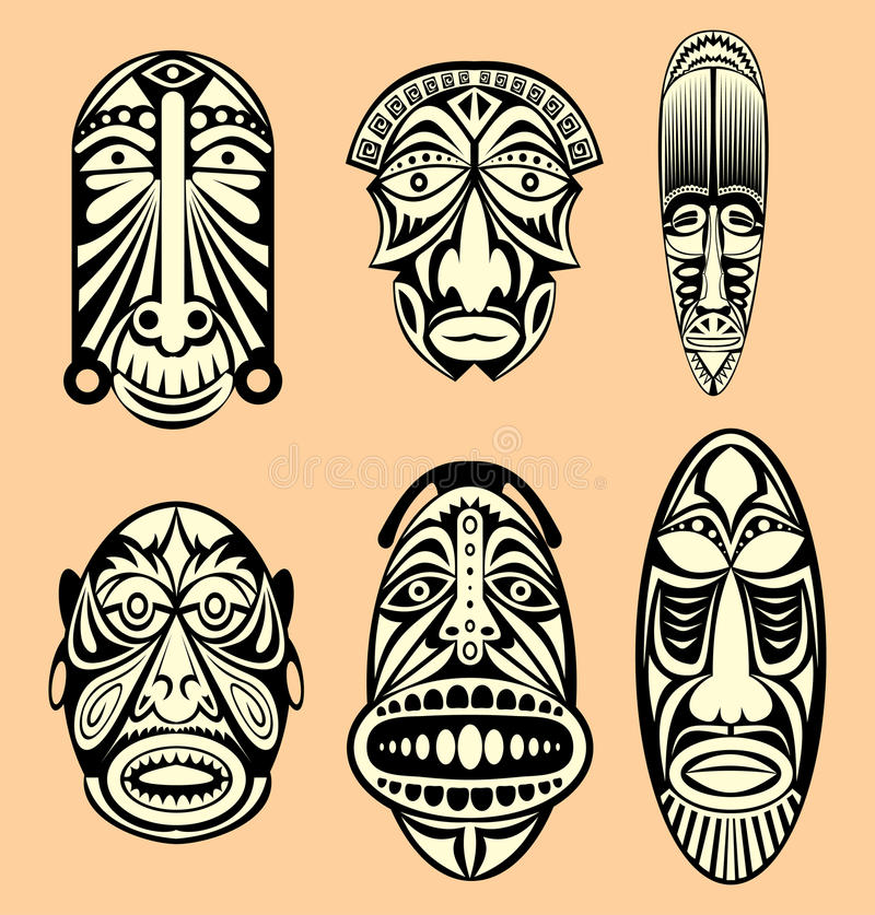 African Masks Stock Vector Illustration Of History