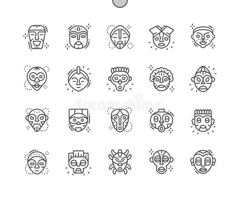 African Masks Well-crafted Pixel Perfect Vector Thin Line Icons 30 2x Grid for Web Graphics and Apps. Simple Minimal Pictogram royalty free illustration