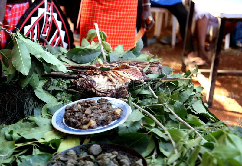 An African meal of roast and fried meat royalty free stock images