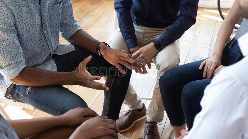 African man counselor speak at group counseling therapy session. African men counselor therapist coach psychologist speak at group counseling therapy session stock photos