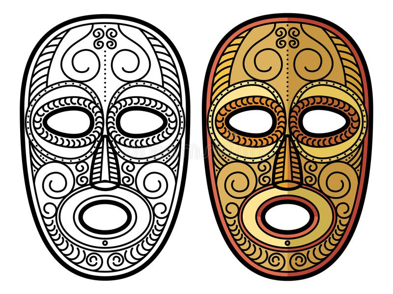 African, mexican aztec tribal mask isolated on white background royalty free illustration