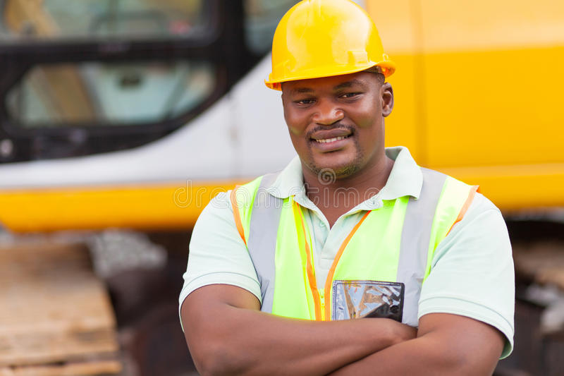 African mine worker royalty free stock photo