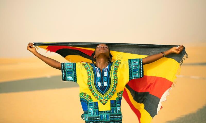 Patriotism of ugandan model royalty free stock photography