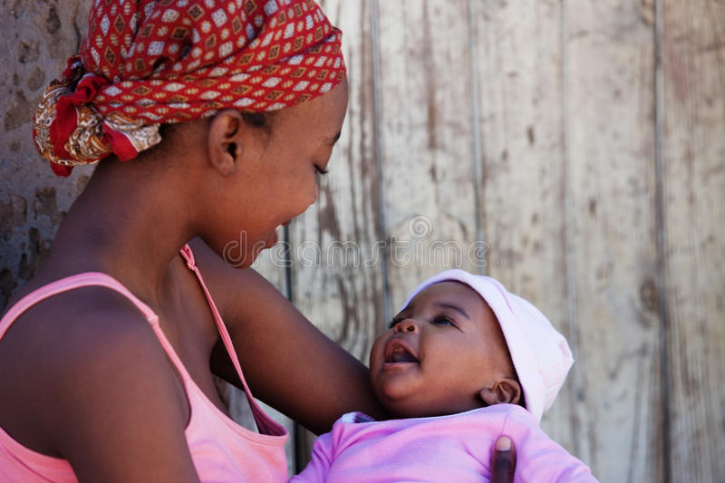 African mother. With baby girl, location Mmankgodi village , Botswana